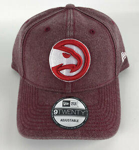 Atlanta Hawks Baseball Strapback Hat New Era 9Twenty Faded Red Denim Red Logo