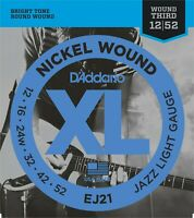 D'Addario EJ21 Nickel Wound Jazz Light Electric Guitar Strings 12-52