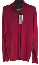 NWT Mens Ashworth Merino Wool Half Zip M Sweater Burgundy Red Z62188 AM8031 Golf