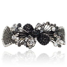 Black Rhinestone Crystal Flowers Barrette Silver Tone Hair Clip Party Gift