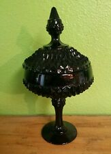 """Vintage 12"""" Black Indiana CUT Glass Diamond FOOTED Pedestal Candy DISH w/ LID"""