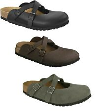 BIRKENSTOCK DORIAN BLACK MOCCA BROWN WOMEN'S CLOGS CRISSCROSS STRAP MARY JANE