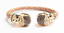 New Designer Italy Trend leather Skull Head Bangle Bracelet 18K Gold .925 Silver