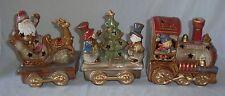 3pc Ceramic Christmas Train Set Engine Snowman Tree Santa Claus Sleigh Lighted