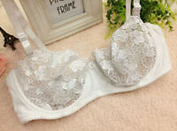 Women's Sexy Lace Bra 1/2 Cup Unlined See Through Mesh Bra Underwire Demi Bralet