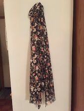 Multi Colored Black And Peach Floral Print Scarf Brand New In Pkg