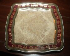 "CROSCILL HOME TOWNHOUSE GOLD BURGUNDY CERAMIC TRAY 6"" x 6"""