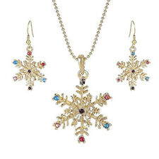 SNOWFLAKE NECKLACE & EARRING SET with SPARKLY RHINESTONE DETAIL -  FREE POST