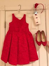 Janie & Jack Dress Red  Big Bow 5 Valentine Holiday shoe 12  tights  headband
