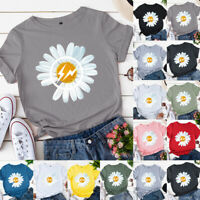 Womens Ladies Basic Shirt Short Sleeve Casual Blouse Pullover Flower Tee Tops