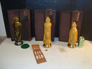 Lot of 3 Vintage 1960s Old Crow Chessmen Chess Bishop Queen Pawn  Empty Decanter
