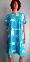 Jostar COTTON Fish Print Short Sleeve TShirt DRESS Blue, Coral, Black