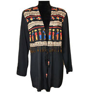 Vintage Choon Black Jacket Western Boho Style Tribal Graphic Beaded Fringe Coat