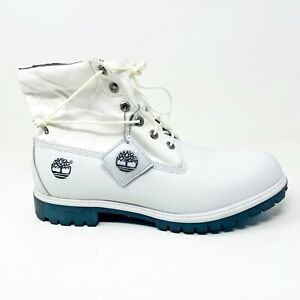 Timberland Mens 6 Inch Premium Boots Roll Top Size 13 White Black Leather 36043