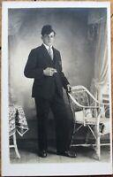 Smoking Man & Painted Backdrop 1920 Realphoto Postcard - Amsterdam, Netherlands