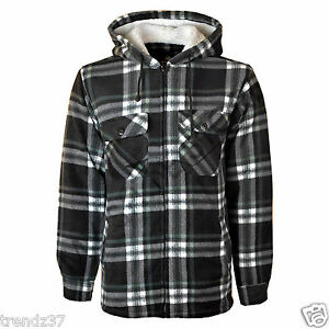 PADDED SHIRT FUR LINED LUMBERJACK FLANNEL WORK JACKET WARM THICK CASUAL TOP