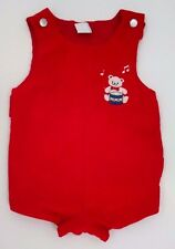 Vtg Baby Boy Romper 6-9M Red Velvet Embroidered Teddy Bear Drummer Boy Christmas