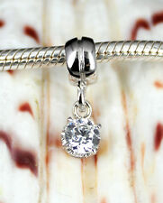 SOLID 925 Sterling Silver Big Sparking Cz DANGLE Charm BEAD Fit Bracelet/ Chain