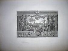 Gravure 19e Noblesse chevalerie Seigneur Jardin Chateau Monceaux Médicis