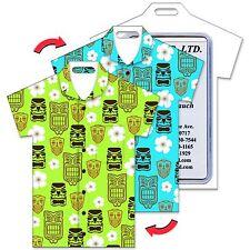Travel Tag Lenticular Luggage Bag T-Shirt Shape Tiki Mask Flowers #LTST-358#