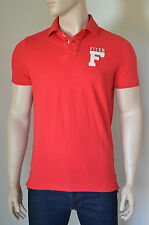 NEU Abercrombie & Fitch MOUNT COLVIN Polo Shirt Rot Baumwolle Pique S Rrp £ 72