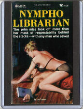 Pulp Paperback Magnet 3 x 4 inch campy cover art mature  NYMPHO LIBRARIAN