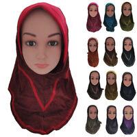 Muslim Kids Girls Hijab Islamic Amira Headscarf Arab Hat Shawl Wrap One Piece
