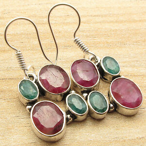 Simulated RUBY & EMERALD Multi Color 4 Stone Earrings, 925 Silver Plated