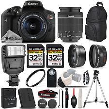 Canon EOS Rebel T6i / 750D Digital SLR Camera - 3 Lens Kit + 64GB + PRO FLASH