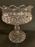 "EAPG Cooperative Flint Glass ROYAL ""Sunken Bullseye"" 8 1/4"" Tall Compote Antique"