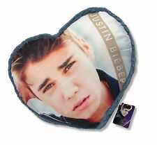 Justin Bieber Blue Heart Shaped Throw Pillow New 2012 NWT Rare Licensed