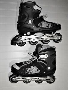 Inline Skates Mens 10/12  Kryptonics Adjustable Bravo Black Sports