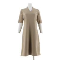 Liz Claiborne New York Essentials Ponte Knit V-Neck Dress Color Burlap Size R12