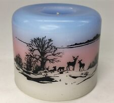 Earthscape Glowing Pillar Candle Deer Countryside Scenary Made in USA