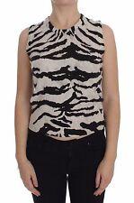 NWT $1000 DOLCE & GABBANA Zebra 100% Cashmere Knit Top Vest Tank IT38 / US4 / XS