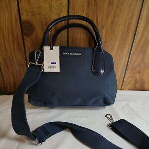 NEW! Dana Buchman Canvas Patent Leather Small Blue Satchel Handbag Crossbody