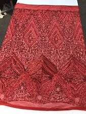 RED SEQUIN DIAMOND DESIGN EMBROIDERY ON A 4 WAY STRETCH MESH-SOLD BY YARD.