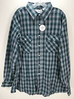 Vtg Sears FIELDMASTER flannel shirt plaid trucker  perma-prest USA Sz 2XL Blue