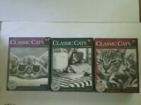 Vintage Classic Cats Puzzles, lot of 3, NEVER OPENED, See pictures