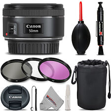 Canon EF 50mm F/1.8 STM Lens - Ultra Saving Bundle Kit + Deluxe 3pc Filter Kit