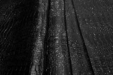 Tessuto Ecopelle Tappezzeria Coccodrillo Nero Glitter cm. 50x140-Leather Fabric
