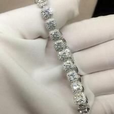 10 ct Moissanite & Sim Diamond Womens Halo Tennis Bracelet 14k White Gold Finidh