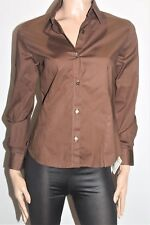 GLOSTER Designer Brown Long Sleeve Shirt Top Size 12 BNWT #SG83