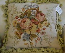 "16"" French Country Style Handmade PetitPoint Needlepoint Pillow w/Tassel WM-36B"