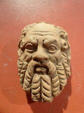 Clay Brick Rustic Wall Plaque Hanging Socrates Philosopher Mask Roman God 3D