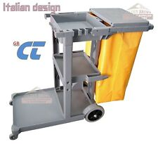 Janitors Trolley Cart Grey, Rubbish Lid, Trash Yellow Bag, CT Italian Design