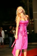Charas BNWT Fucsia Satén Formal Fiesta Baile de graduación Vestido tamaño de Reino Unido 10 Pantorrilla