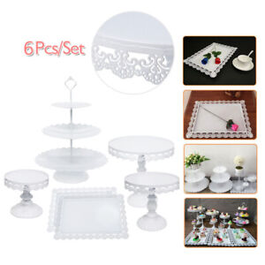 6Pcs White CUPCAKE STAND Metal Dessert Holder Wedding Event Party Display Tower