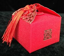 Red Gold Chinese Double Happiness Wedding FAVOR BOX Asian Theme Bridal Shower