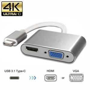 USB 3.1 Type C To VGA Multiport Adapter USB C To HDMI 4K UHD Converter Port HUB